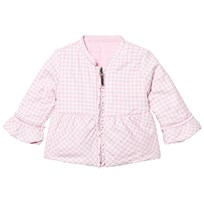 Mayoral Pink Frill Detail Gingham Reversible Puffer Jacket 27