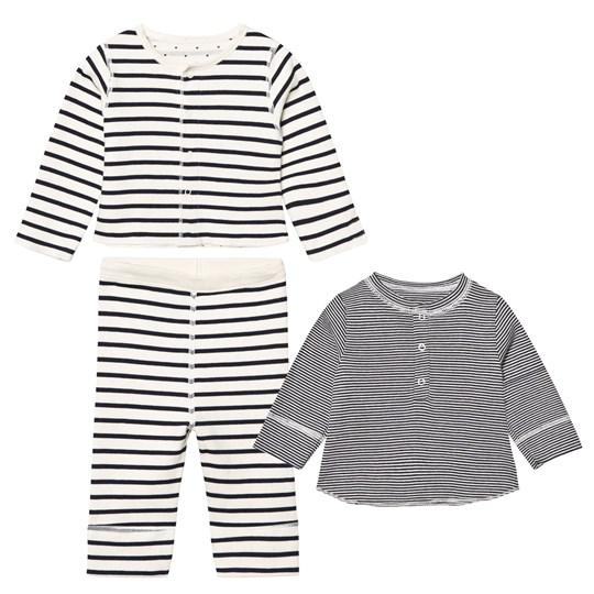 Petit Bateau Offwhite and Navy Set Coquille/Smoking