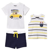 Mayoral White Dog and Car Print Tee, Vest and Shorts Set 51