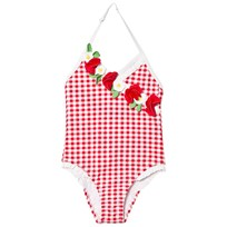 Mayoral Red Gingham Flower Applique Swimsuit 42