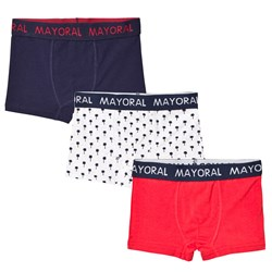 Mayoral 3 Pack of Navy, Red and Patterned Trunks