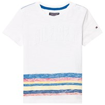 Tommy Hilfiger White Multi Stripe Branded Tee 122