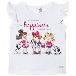 Mayoral White Puppies and Girls Print Tee