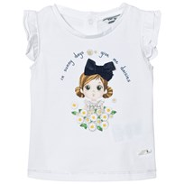 Mayoral White Daisy and Girl Print Tee 72