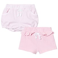 Mayoral 2 Pack of Pink Stripe and Solid Jersey Shorts 23