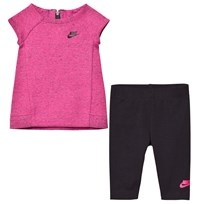 NIKE Pink Tech Fleece Dress and Leggings Set A3D