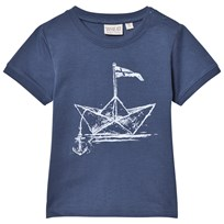 Wheat T-shirt Paper Ship Ss Indigo INDIGO