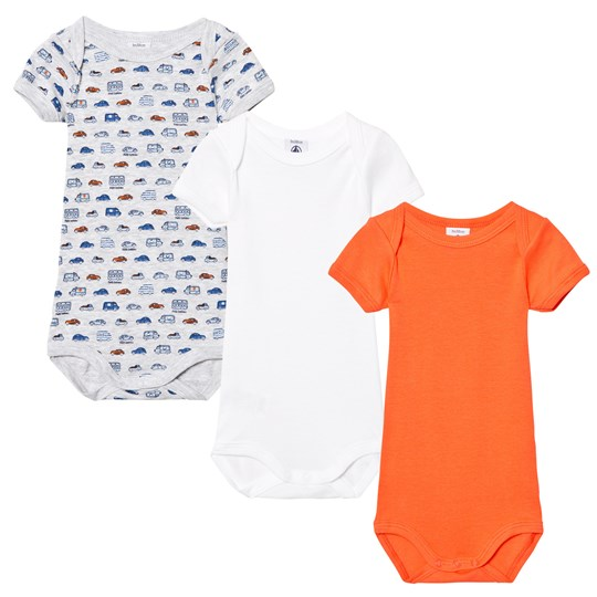 Petit Bateau 3 Pack of Orange, White and Grey Car Print and Solid Short Sleeve Bodies 00