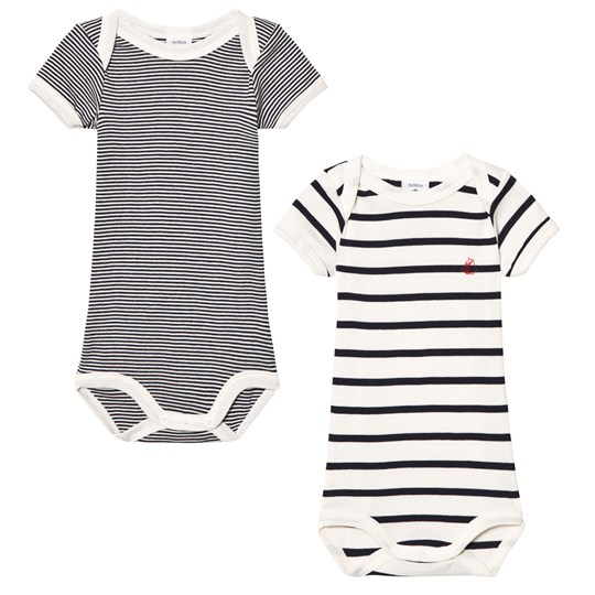 Petit Bateau 2 Pack of Navy and Cream Short Sleeve Bodies 00