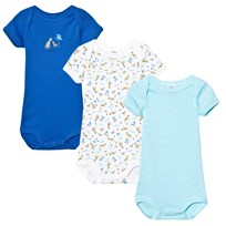 Petit Bateau Short Sleeve Baby Body Set Blue, Blue Stripe and Tiger Print 00