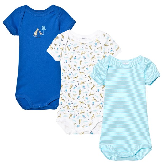 Petit Bateau Pack of 3 Blue, Stripe and Tiger Print Short Sleeve Bodies 00