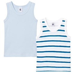 Petit Bateau 2 Pack of Blue and Stripe Vests