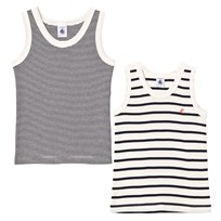 Petit Bateau 2 Pack of Navy and Cream Stripe Vests 00