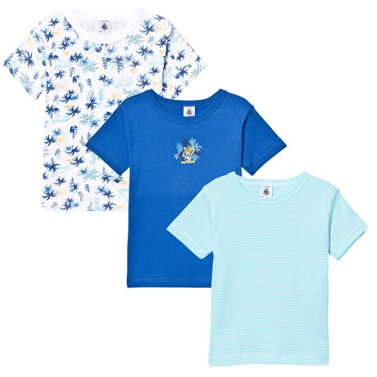 Petit Bateau 3 Pack of Blue Stripe, Solid and Leaf Print Tees 00