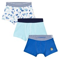 Petit Bateau 3 Pack of Blue Stripe, Solid and Leaf Print Trunks 00