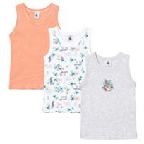 Petit Bateau 3 Pack of Red Stripe, Grey and Jungle Print Vest 00