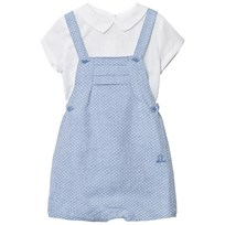 Mayoral White Linen Shirt and Blue Dungaree Set 53