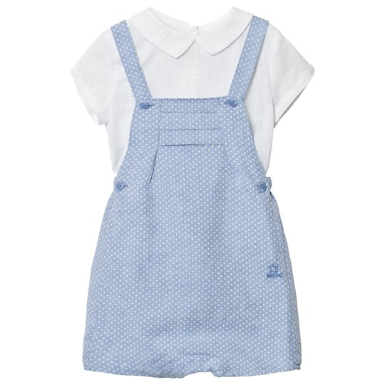 Mayoral White Linen Shirt and Blue Overall Set 53