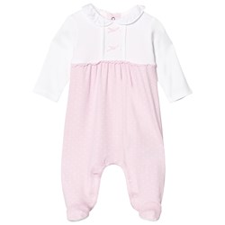 Mayoral Off White and Pink Spot Frill Babygrow