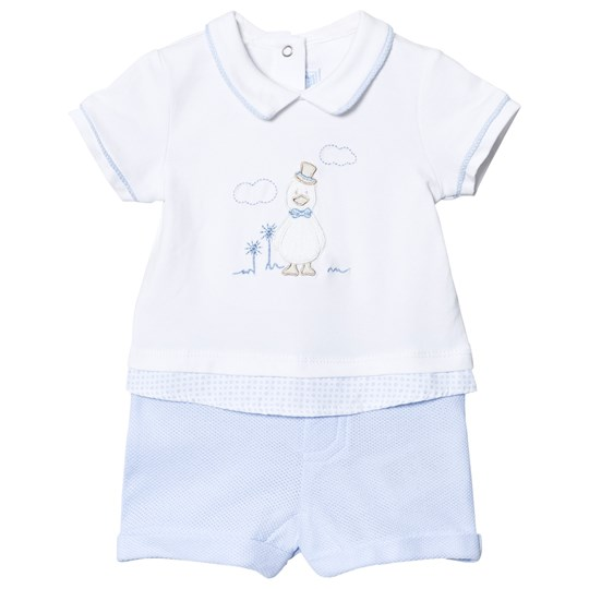 Mayoral White And Blue Duck Romper 16