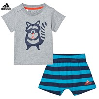 adidas Grey Racoon Graphic Shorts and Tee Set MEDIUM GREY HEATHER