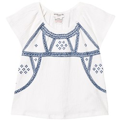 Cyrillus White and Blue Textured Jersey Embroidred Top