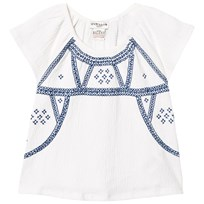 Cyrillus White and Blue Textured Jersey Embroidred Top White