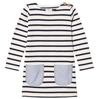 Cyrillus White and Blue Stripe Jersey Dress with Chambray Pockets White