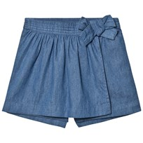 Cyrillus Blue Chambray Skort with Bow Blue