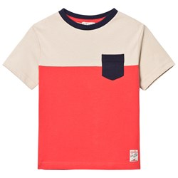 Cyrillus Red and Ecru Color Block Pocket Tee