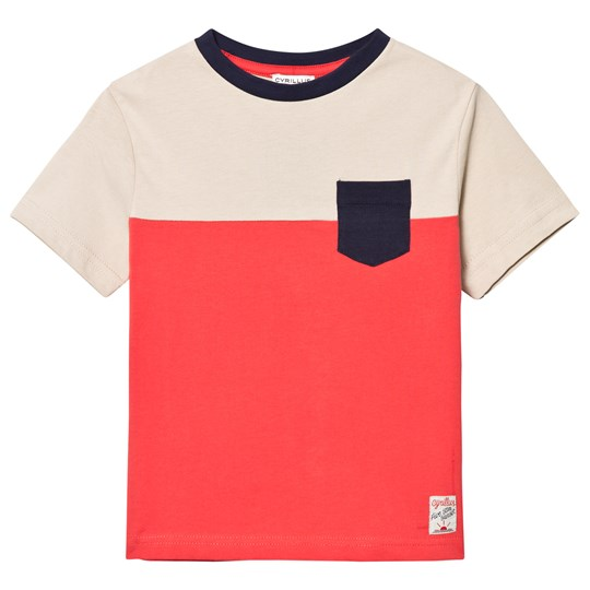 Cyrillus Red and Ecru Color Block Pocket Tee Multi
