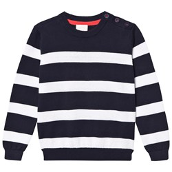 Cyrillus Navy and White Stripe Knit Jumper