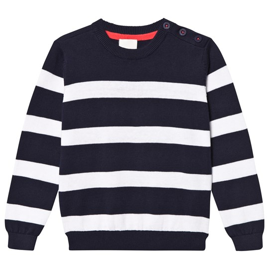 Cyrillus Navy and White Stripe Knit Jumper Navy