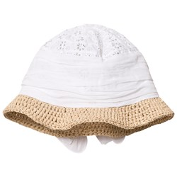 Grevi White Broderie Anglaise and Raffia Sun Hat