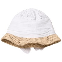 Grevi White Broderie Anglaise and Raffia Sun Hat with Bow 7301-7215