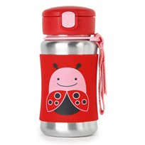Skip Hop Zoo Stainless Steel Straw Bottle Ladybug Nyckelpiga