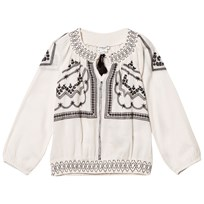 Cyrillus Off White and Black Embroidered Smock Top Off white