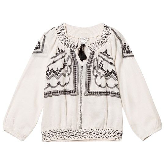 Cyrillus Off White and Black Embroidered Tunic Off white
