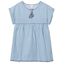 Cyrillus Chambray Pleated Tassle Top Blue