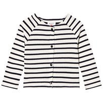 Cyrillus White and Navy Stripe Jersey Cardigan White