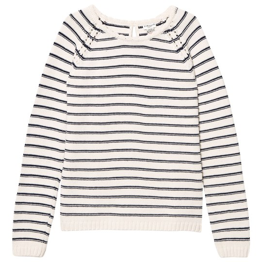 Cyrillus Off White and Navy Sailor Stripe Jumper Off white