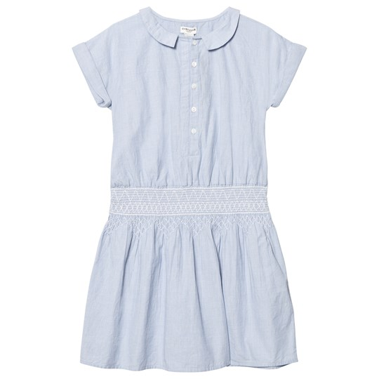 Cyrillus Light Blue Smock Waist Shirt Dress Blue