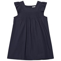 Cyrillus Navy Smock Front Cotton Dress Navy