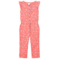 Cyrillus Floral Frill Sleeve Jumpsuit Rosa