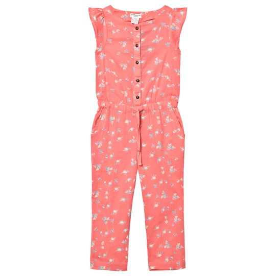 Cyrillus Floral Frill Sleeve Jumpsuit Rosa Pink