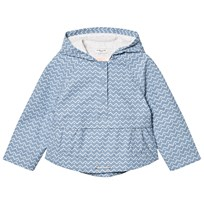 Cyrillus Pale Blue Printed Hooded Raincoat Blue