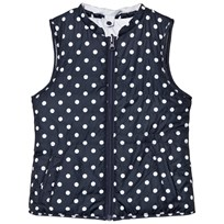 Cyrillus Navy Spot Gilet with Packaway Hoody Marinblå