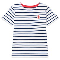 Cyrillus White and Navy Stripe Tee with Nautical Badge White