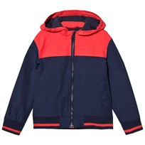 Cyrillus Navy and Red Hooded Windbreaker NAVY-RED