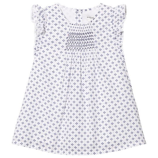 Cyrillus White and Blue Printed Frill Dress White